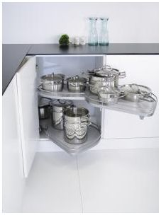 Kesseböhmer Arena Classic LeMans II, Right hand corner unit, 500mm wide, silver/chrome, grey shelves (K2LM500SCR)